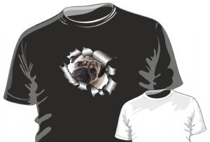 RIPPED TORN METAL Design With Cute Little PUG Dog Motif mens or ladyfit t-shirt